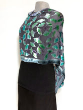 Load image into Gallery viewer, Velvet Poncho in Black With Turquoise Gingko Leaves-Sherit Levin