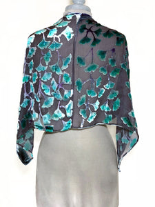 Velvet Poncho in Black With Turquoise Gingko Leaves-Sherit Levin