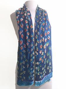 Velvet Scarf with Leaf Pattern in Smokey Blue-Sherit Levin