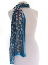 Load image into Gallery viewer, Velvet Scarf with Leaf Pattern in Smokey Blue-Sherit Levin
