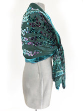 Load image into Gallery viewer, Velvet Scarf/Shawl Hand-Painted with Willows Pattern in Teal and Aquamarine-Sherit Levin