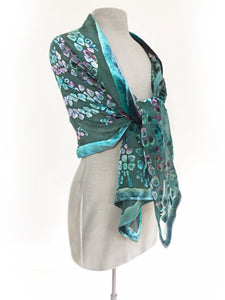 Velvet Scarf/Shawl Hand-Painted with Willows Pattern in Teal and Aquamarine-Sherit Levin