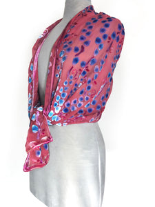 Velvet Scarf/Shawl in Coral Red-Sherit Levin