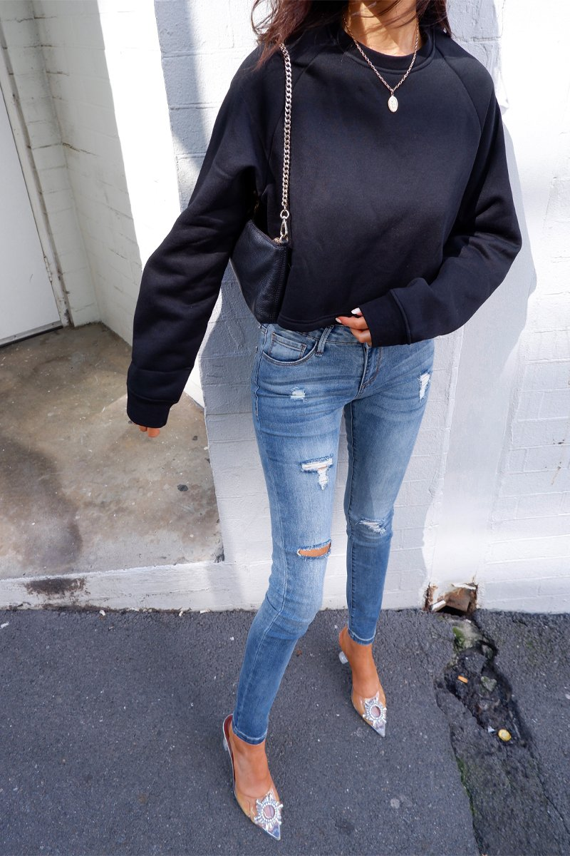 BIANCA FLEECE CROP SWEATER - BLACK