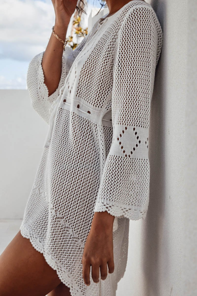 JADE CROCHET DRESS - WHITE