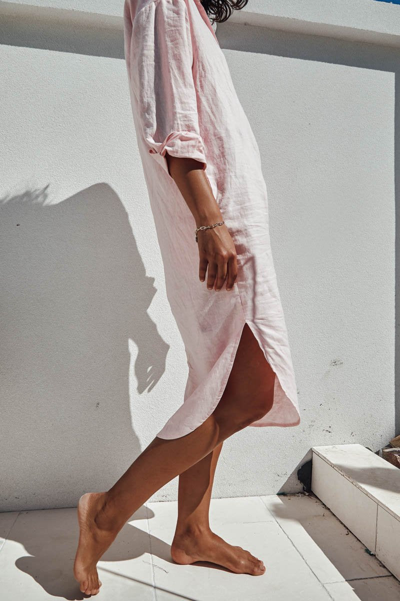 BELLA SHIRT DRESS - BABY PINK - PRE ORDER