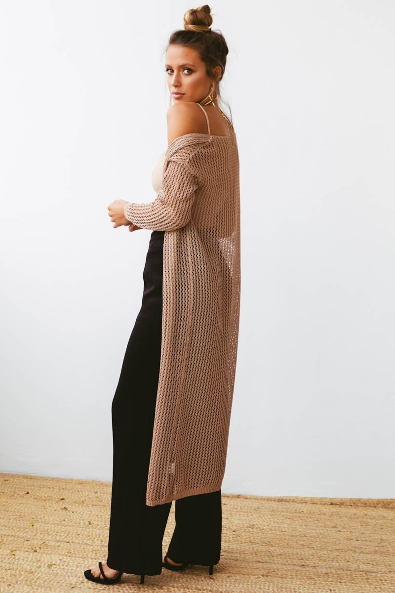 SYLVIE CROCHET CARDIGAN - COFFEE