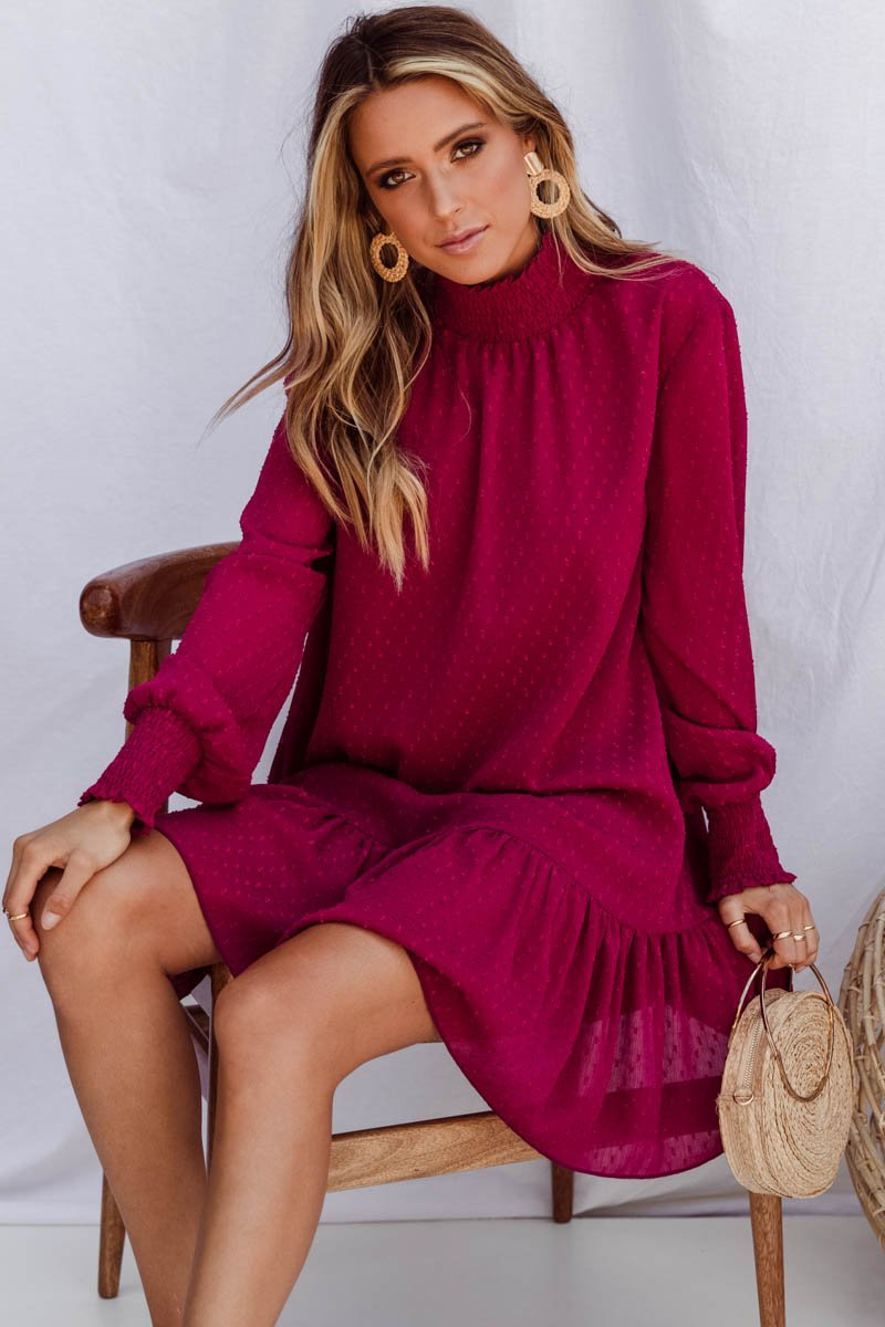 TERRI DRESS - BURGUNDY
