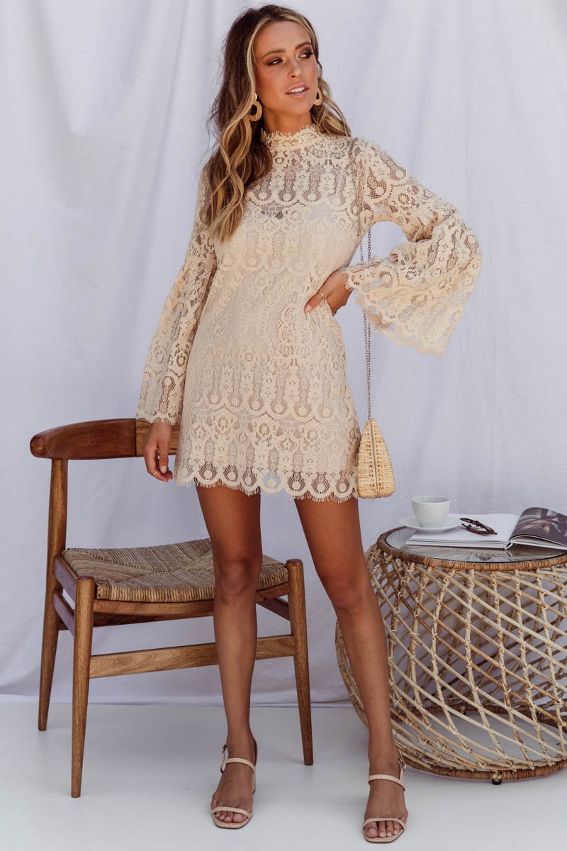 GEMENE LACE MIDI DRESS - CREAM