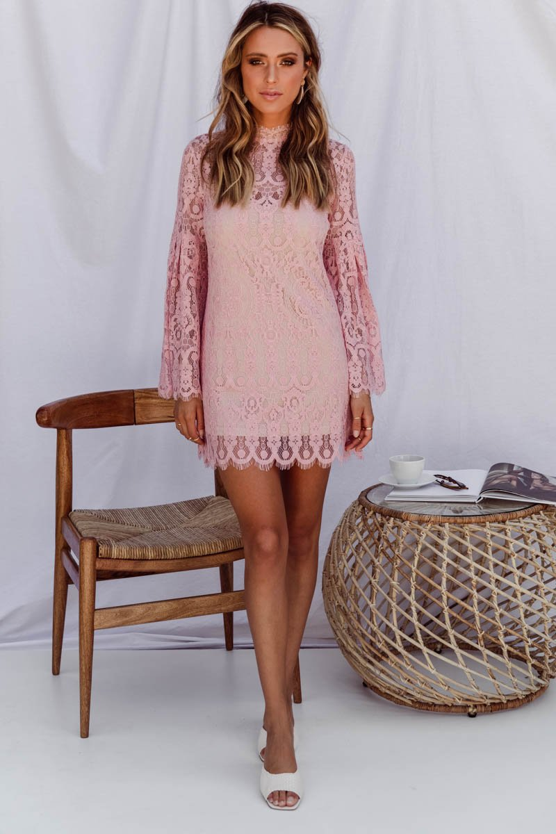 GEMENE LACE MIDI DRESS - PINK
