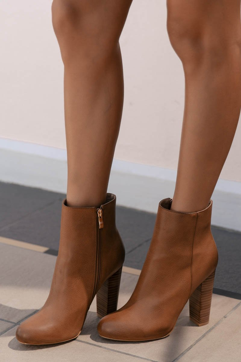 LIA BOOTS - DARK TAN TUMBLE