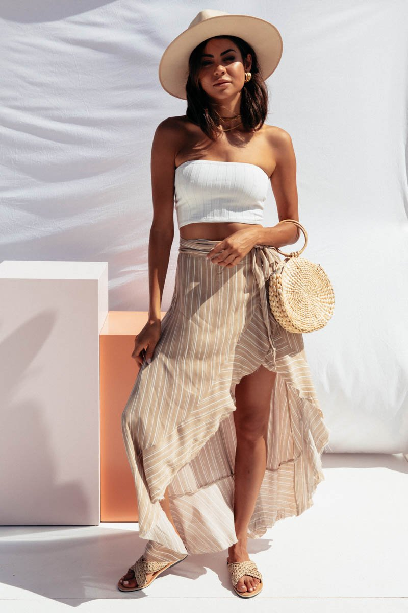 SOLAR WRAP SKIRT - CREAM & WHITE STRIPE