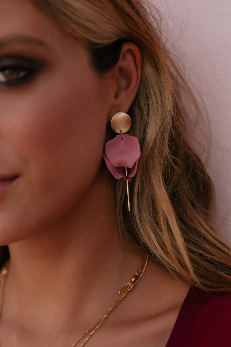 ESTA HANGING EARRINGS - ROUGE