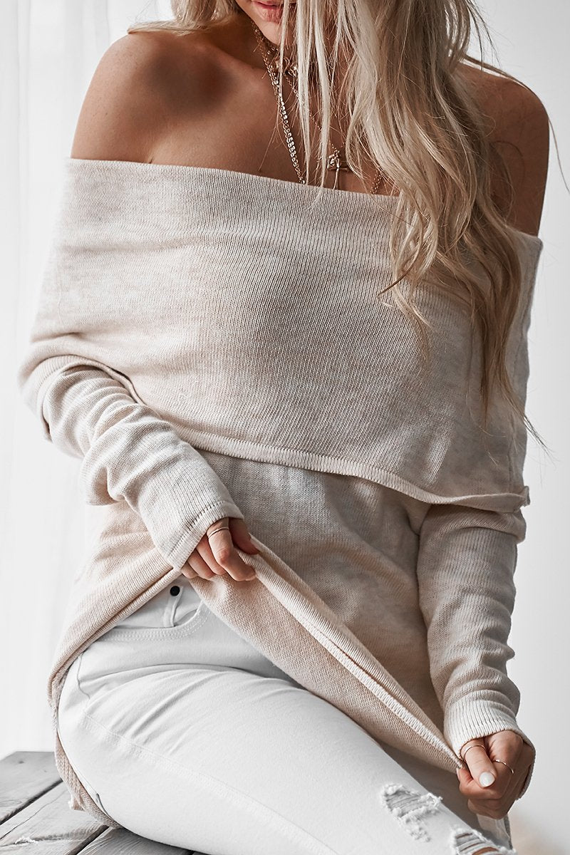 LOPEZ OFF SHOULDER KNIT - SAND