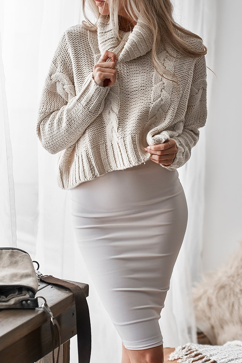 RUBI CABLE KNIT CROP - SAND