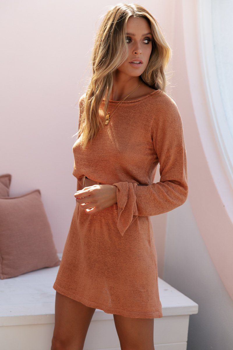 AMBER KNIT DRESS - RUST