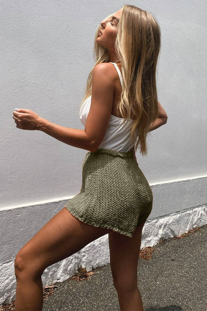 ASTRID KNIT SHORTS - KHAKI