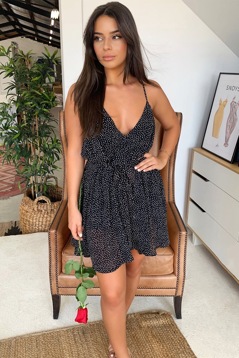 ANDREA PLAYSUIT - BLACK POLKA DOT