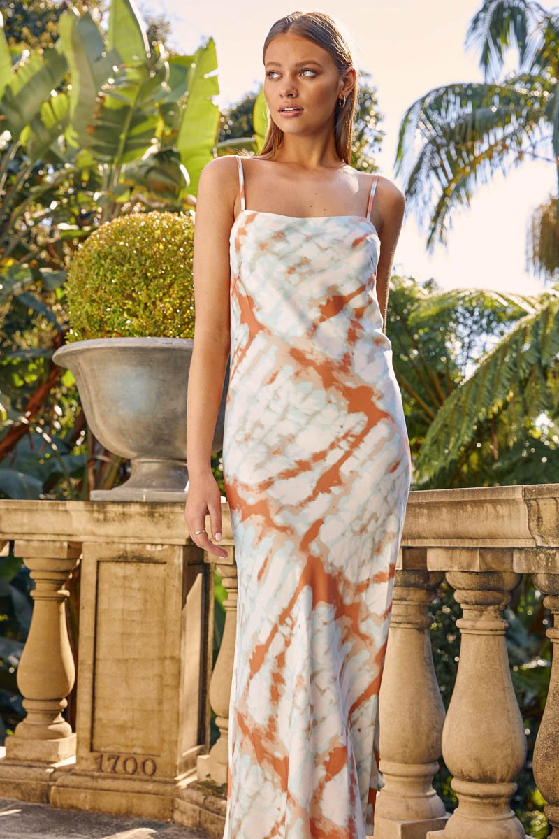 ARIEL DRESS - ORANGE TIE DYE