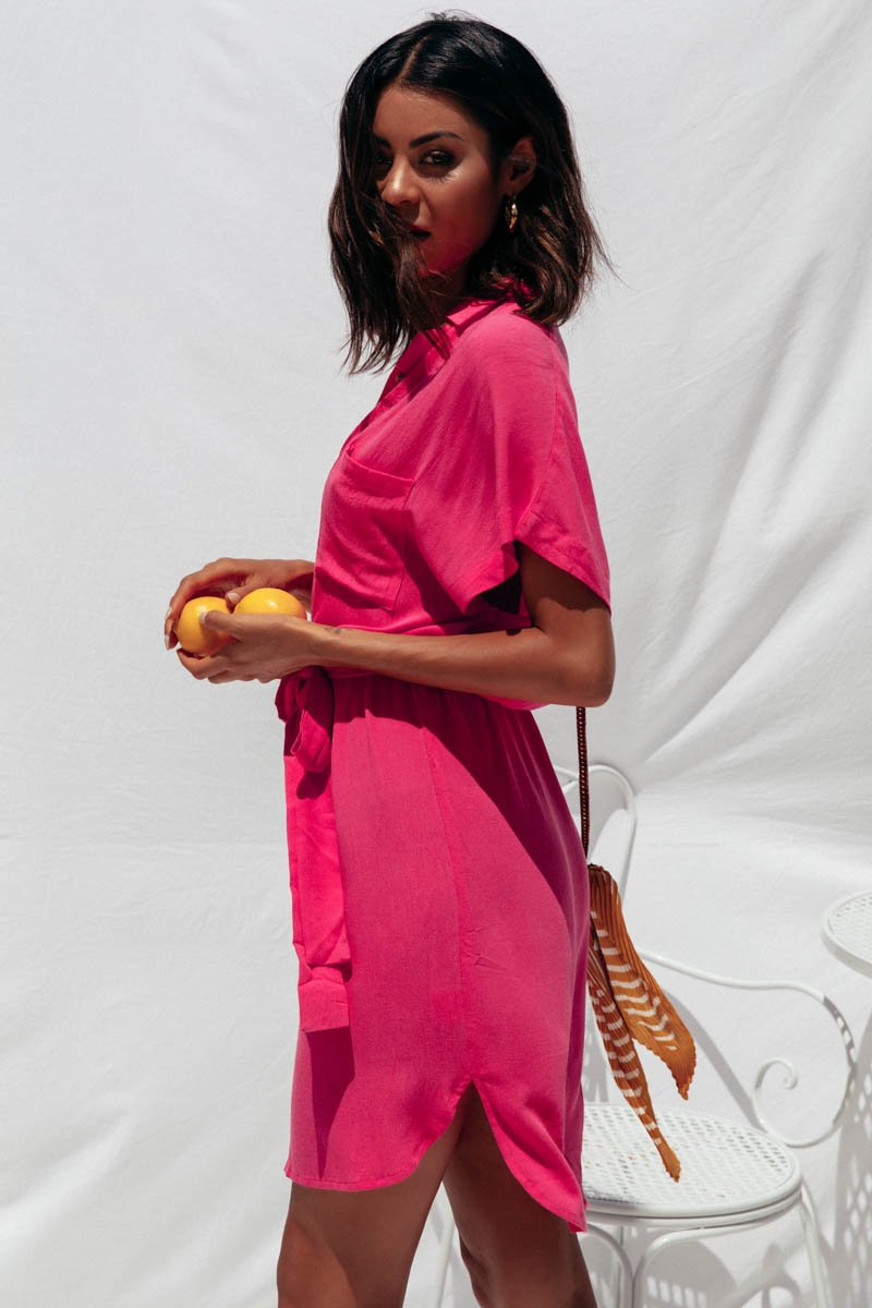BACK TO BASICS SHIRT DRESS - HOT PINK