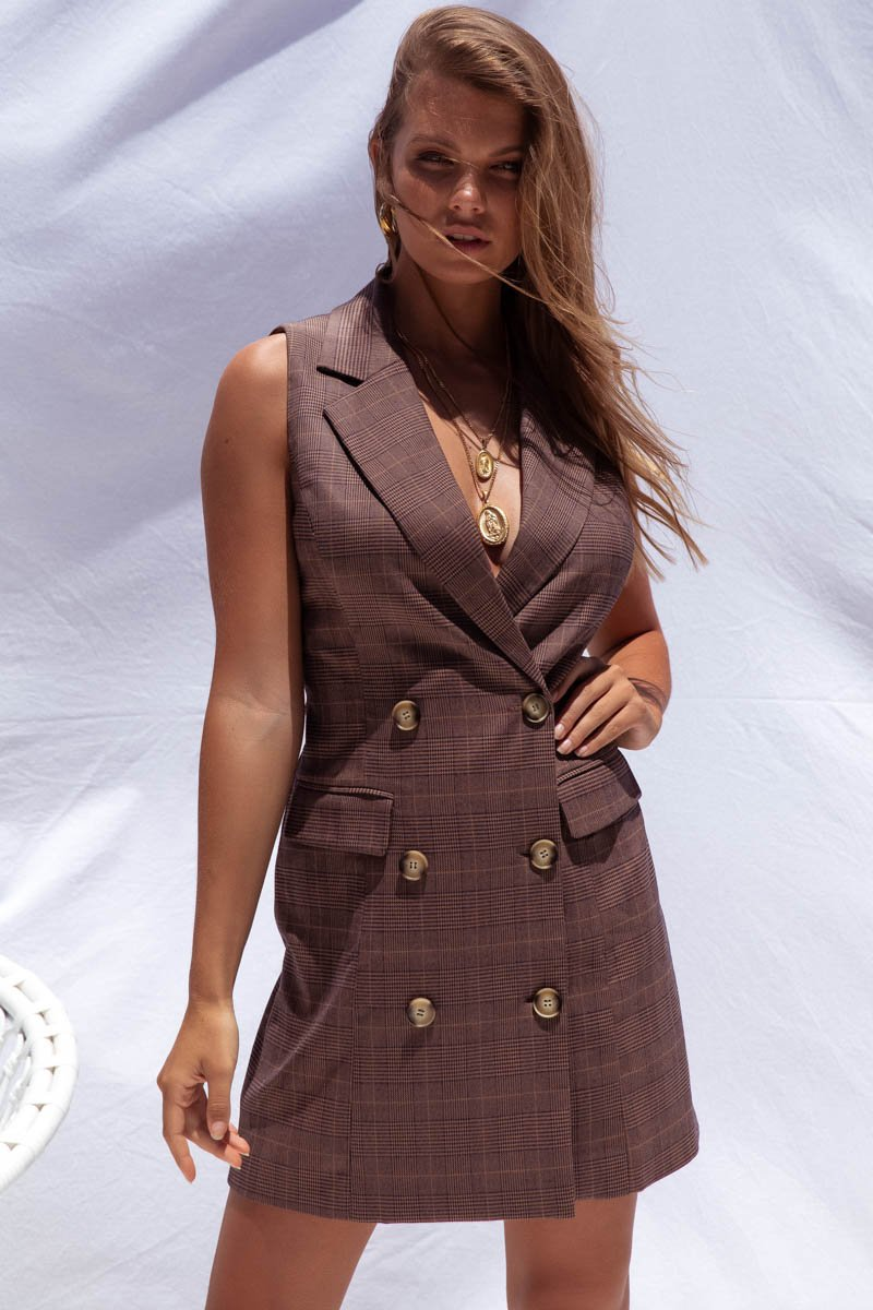 BOSS DRESS - BROWN TWEED