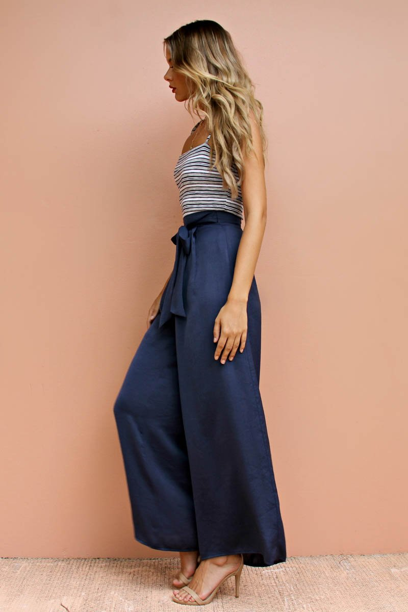 BERRY SILKY PANT - NAVY