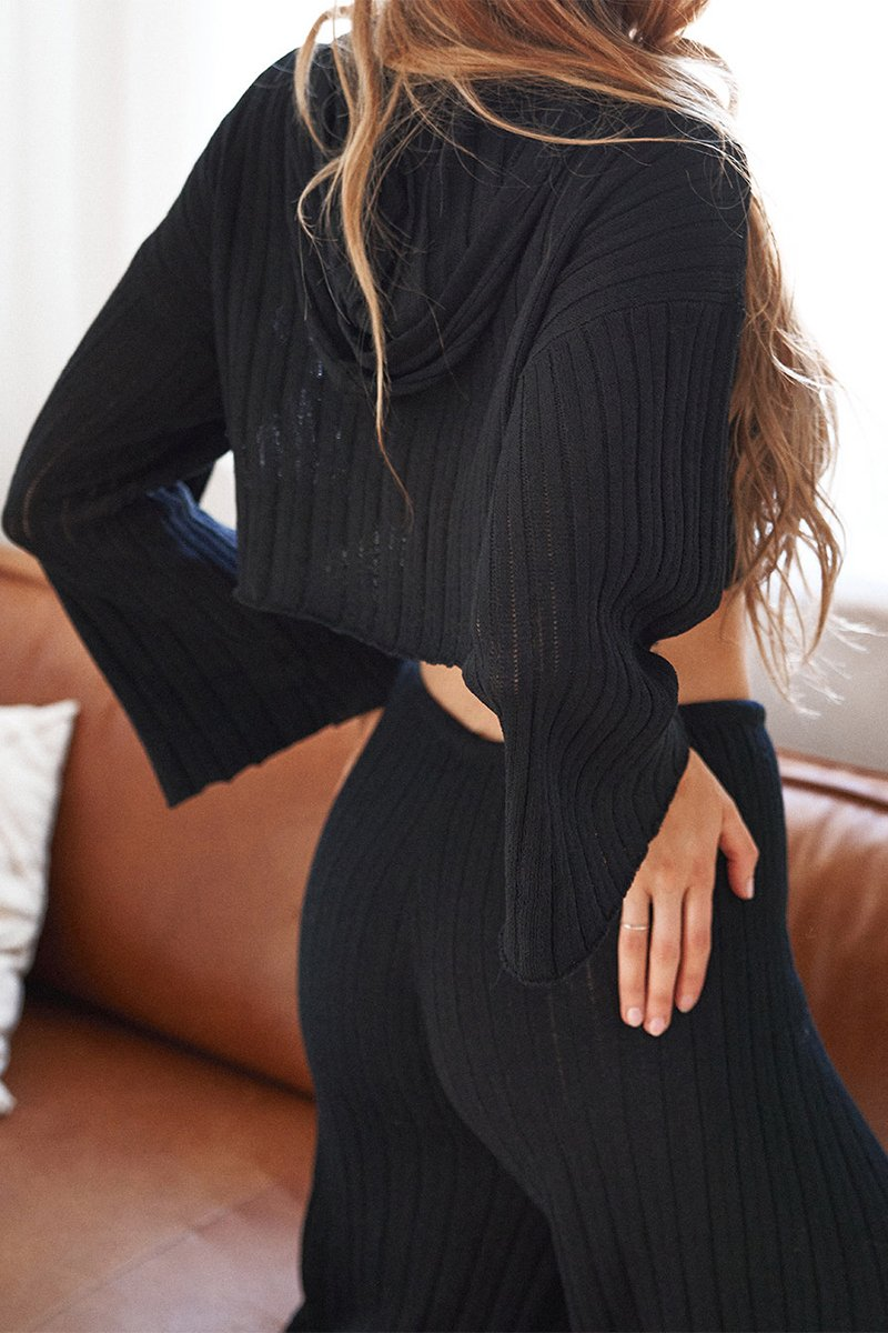 BAHA RIBBED HOOD KNIT CROP - BLACK - PREORDER