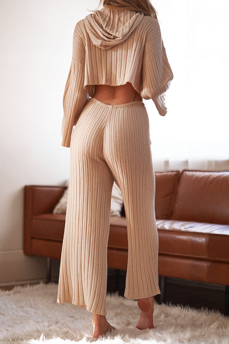 BAHA RIBBED WIDE LEG PANTS - SAND