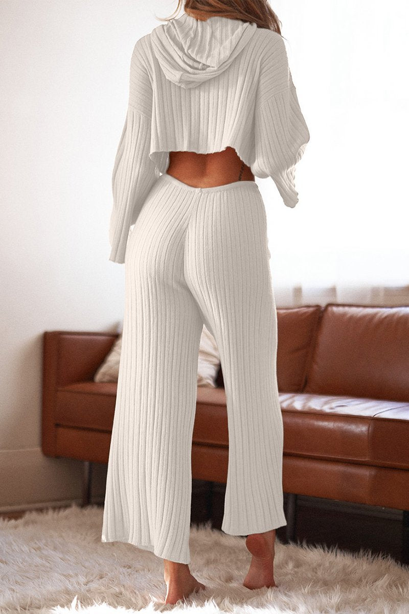 BAHA RIBBED WIDE LEG PANTS - WHITE