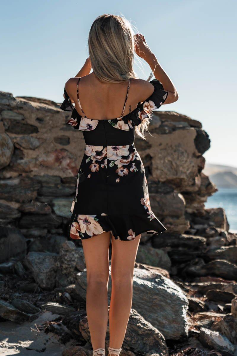 COCO MINI DRESS - BLACK FLORAL