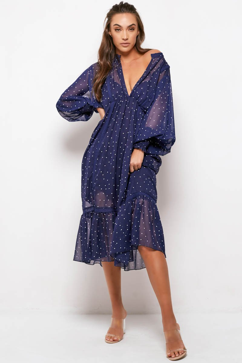 COCO DRESS - NAVY POLKA DOT