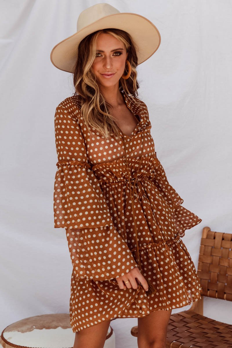 CONNIE DRESS - BROWN