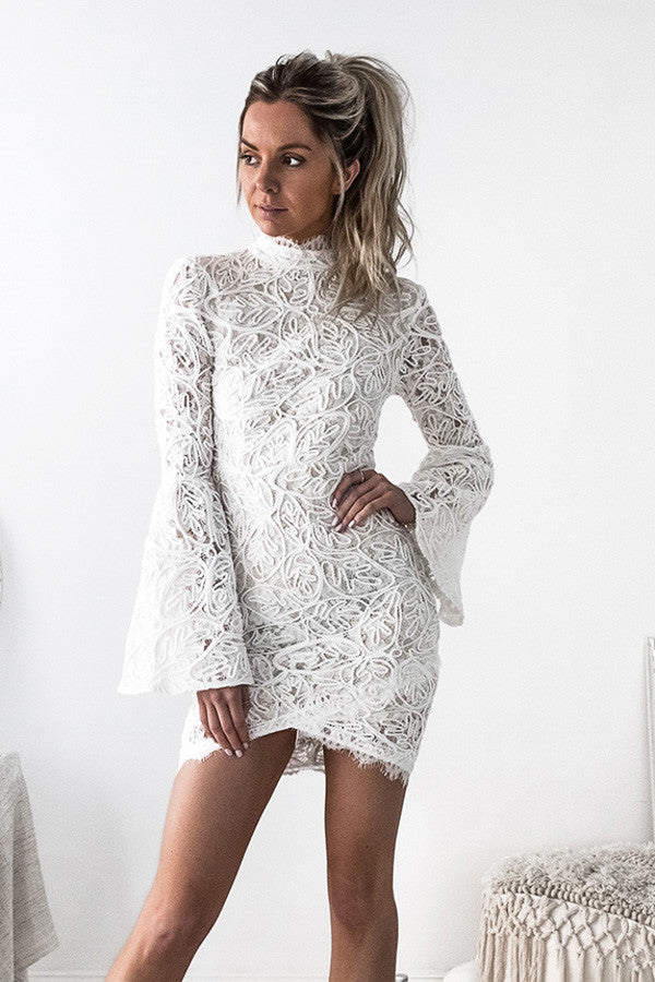 CAMILE DRESS LONG SLEEVE WHITE