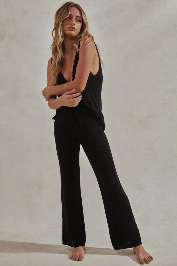 CELESTE TANK TOP + LONG PANTS SET - BLACK