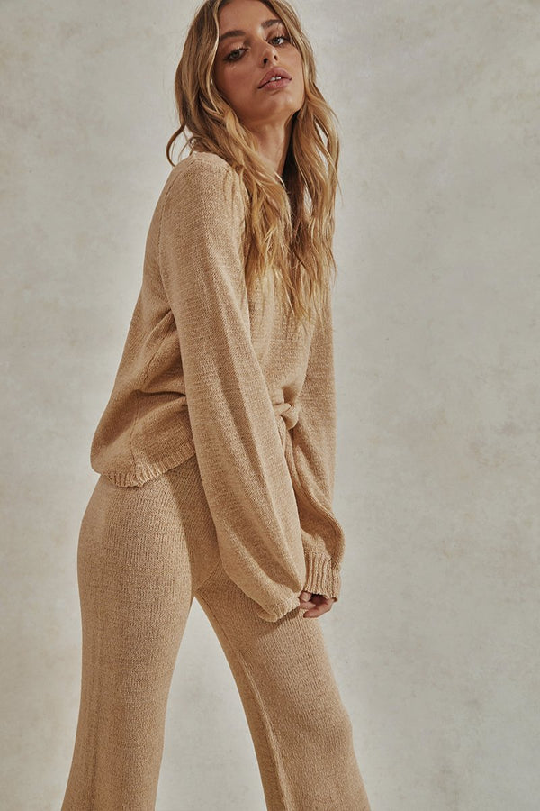 CELESTE LONG SLEEVE TOP + LONG PANTS SET - CREAM