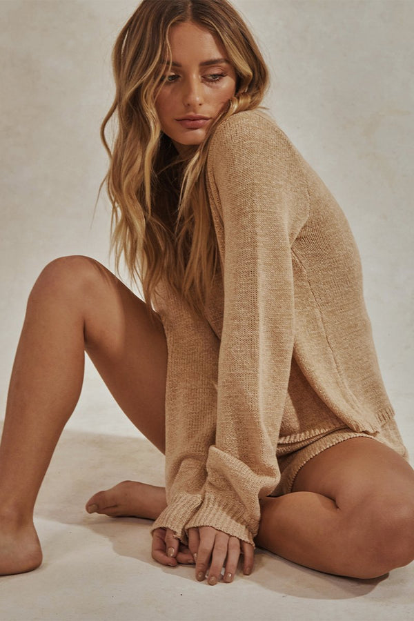 CELESTE LONG SLEEVE TOP + SHORTS KNIT SET - CREAM