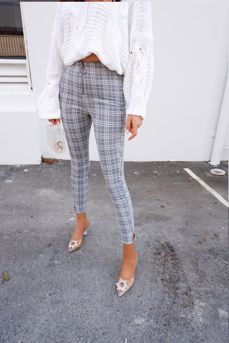 CHRISSY PANTS - GREY/WHITE CHECK