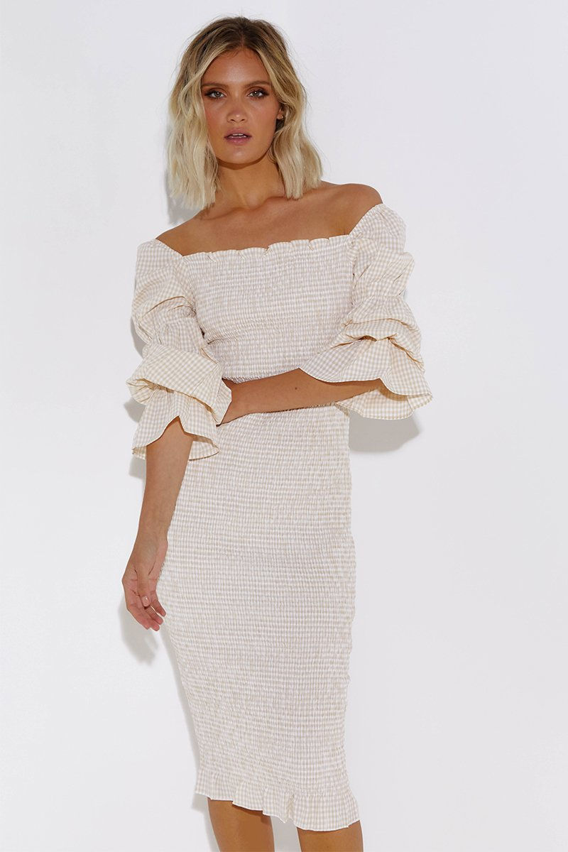 COURTNEY MIDI DRESS - CREAM WHITE