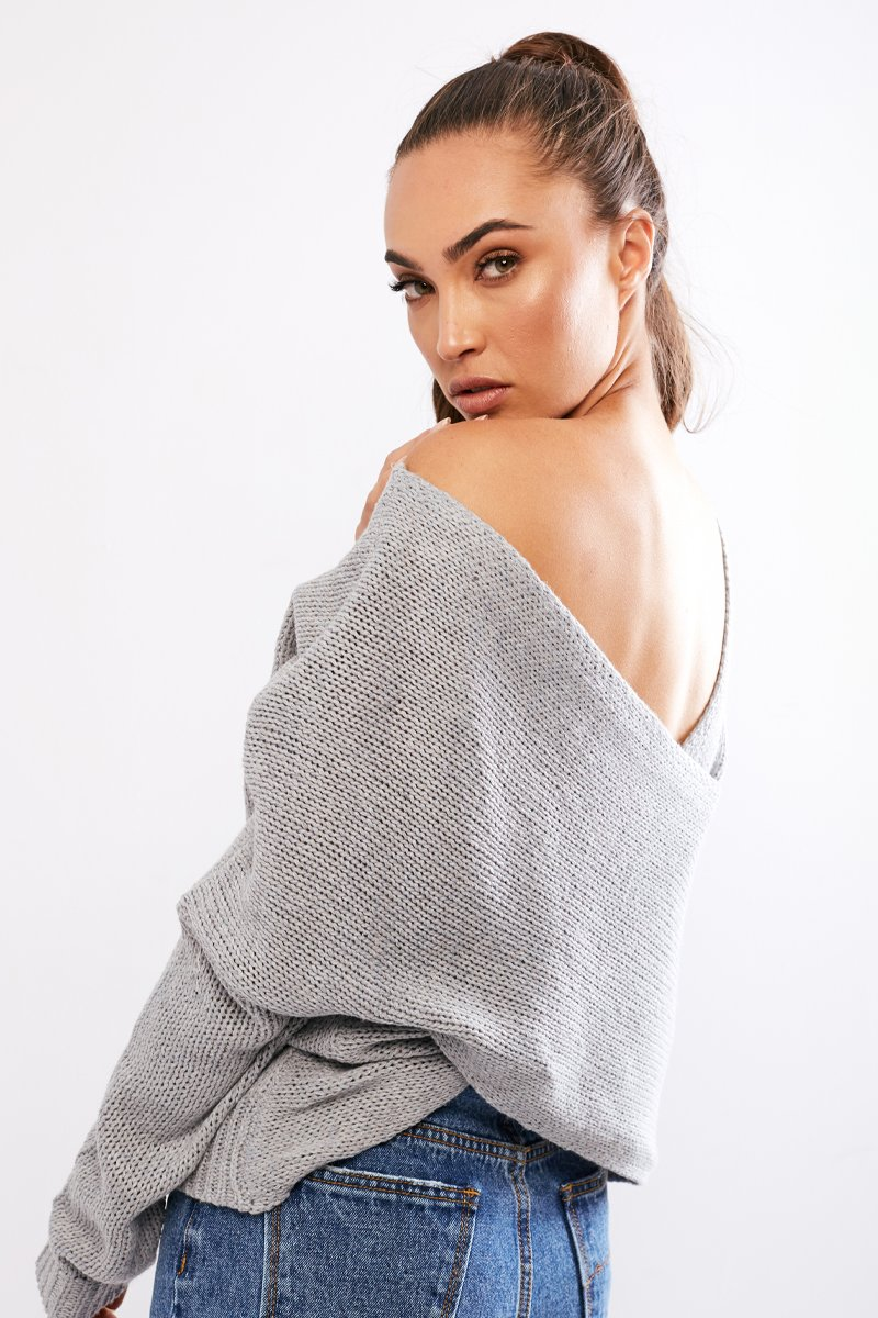DOUBLE CROSS KNIT - GREY