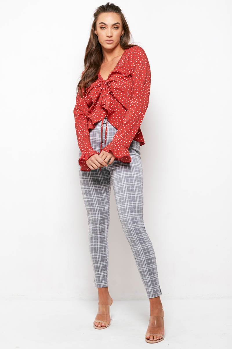DETAILS TOP - RED POLKA DOT
