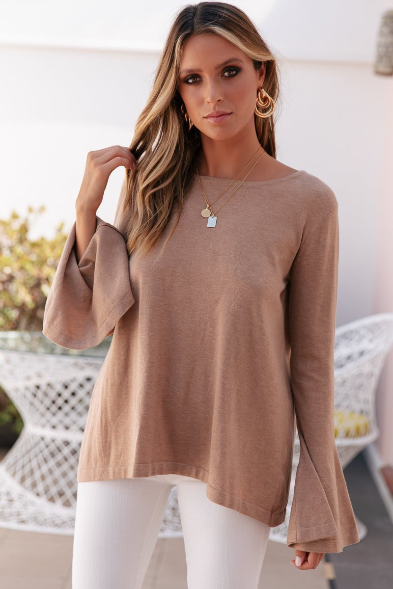 DOMINIQUE KNIT TOP - MOCHA