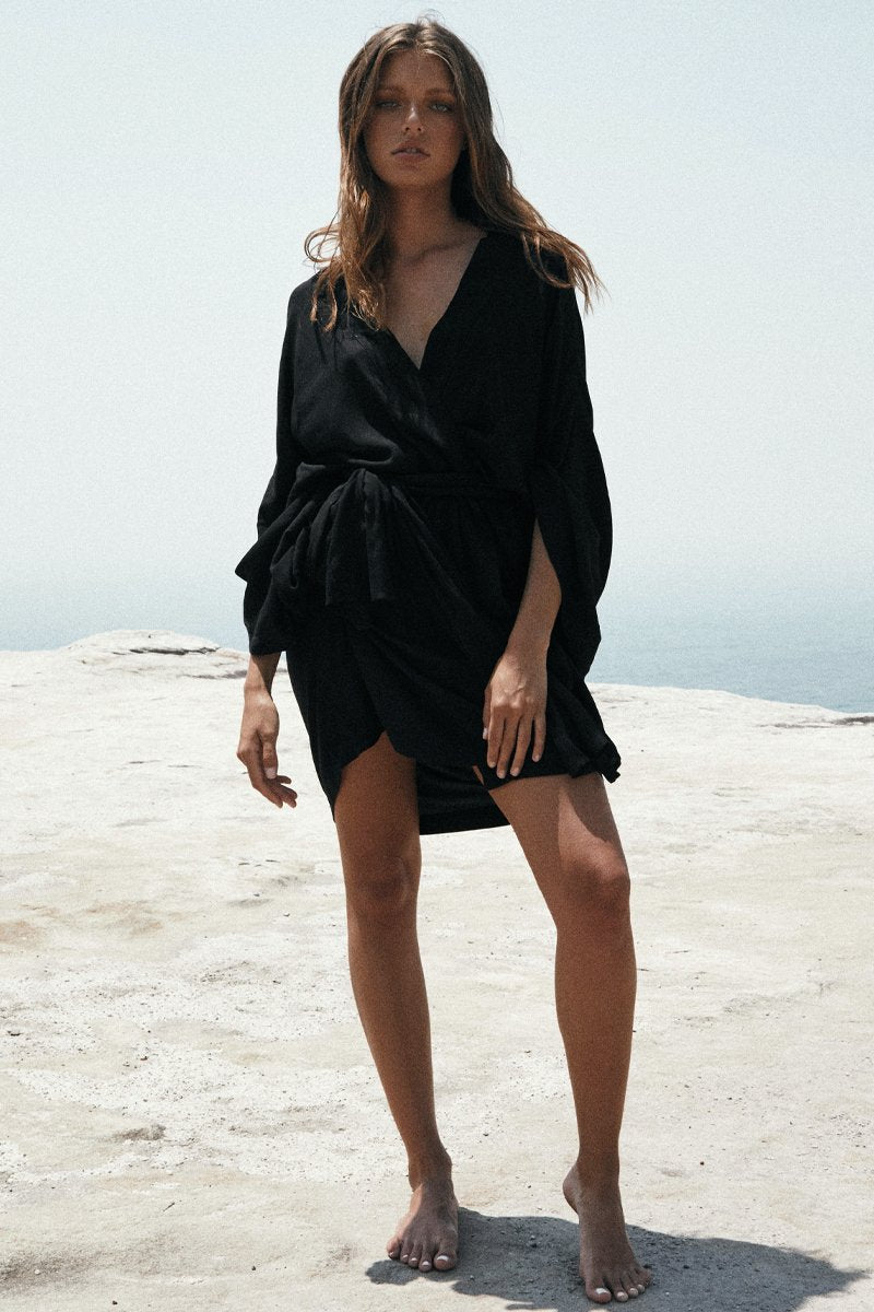 DIVINE WRAP DRESS - BLACK