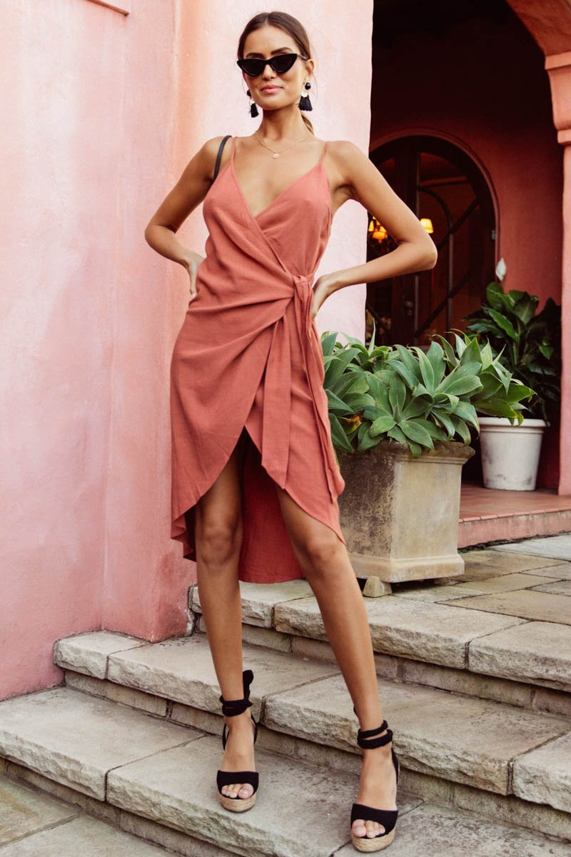 RAYZ WRAP DRESS - RUST - PRE ORDER