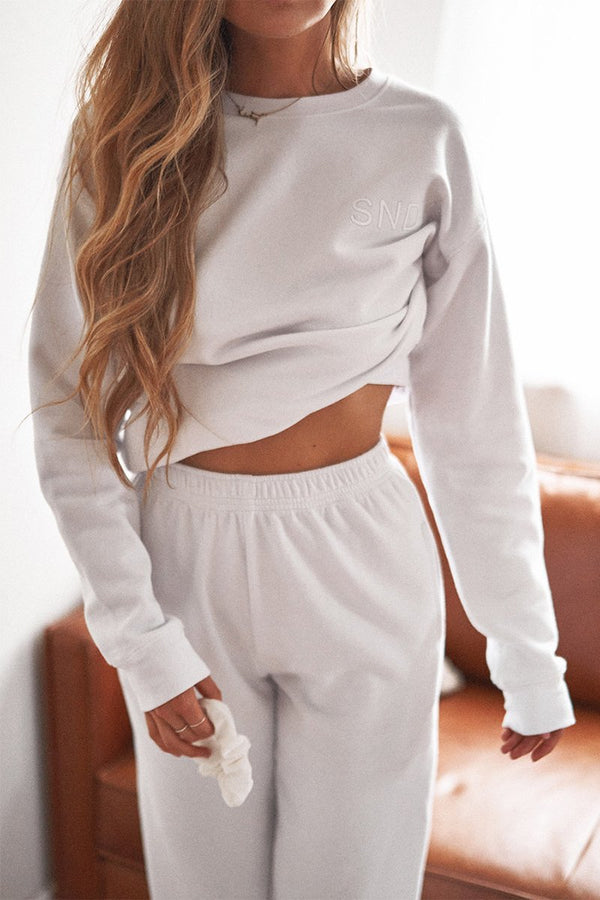 LUXE FLEECE CREW - WHITE