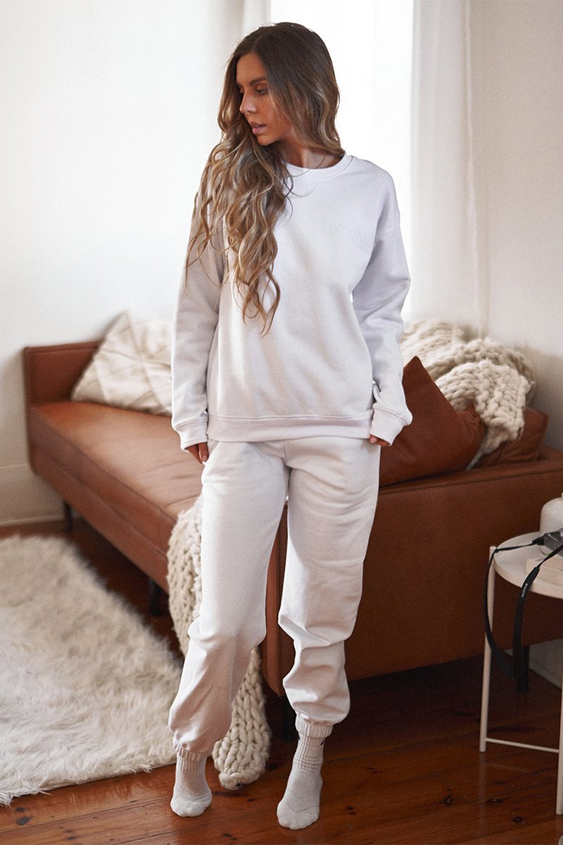 LUXE FLEECE CREW - WHITE - PREORDER