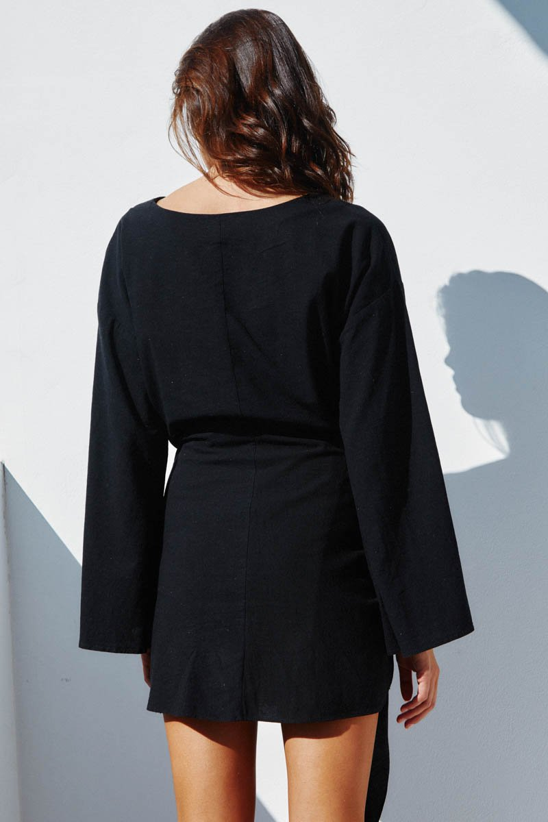 HUA LINEN DRESS LONG SLEEVE - BLACK