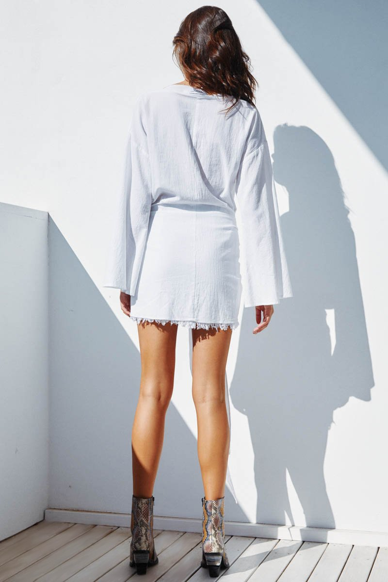HUA LINEN DRESS LONG SLEEVE - WHITE