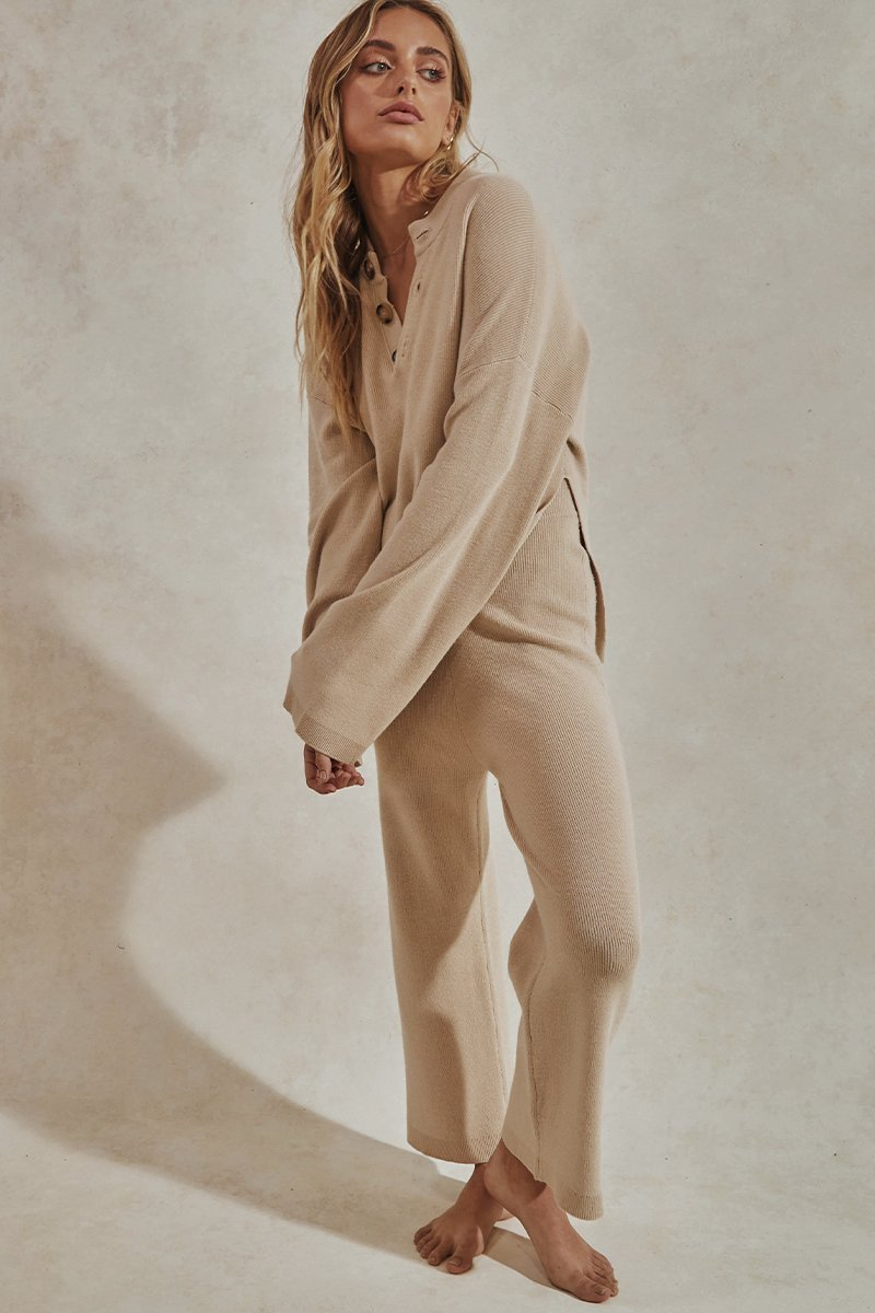 HERO KNIT PANTS - TAN - PREORDER