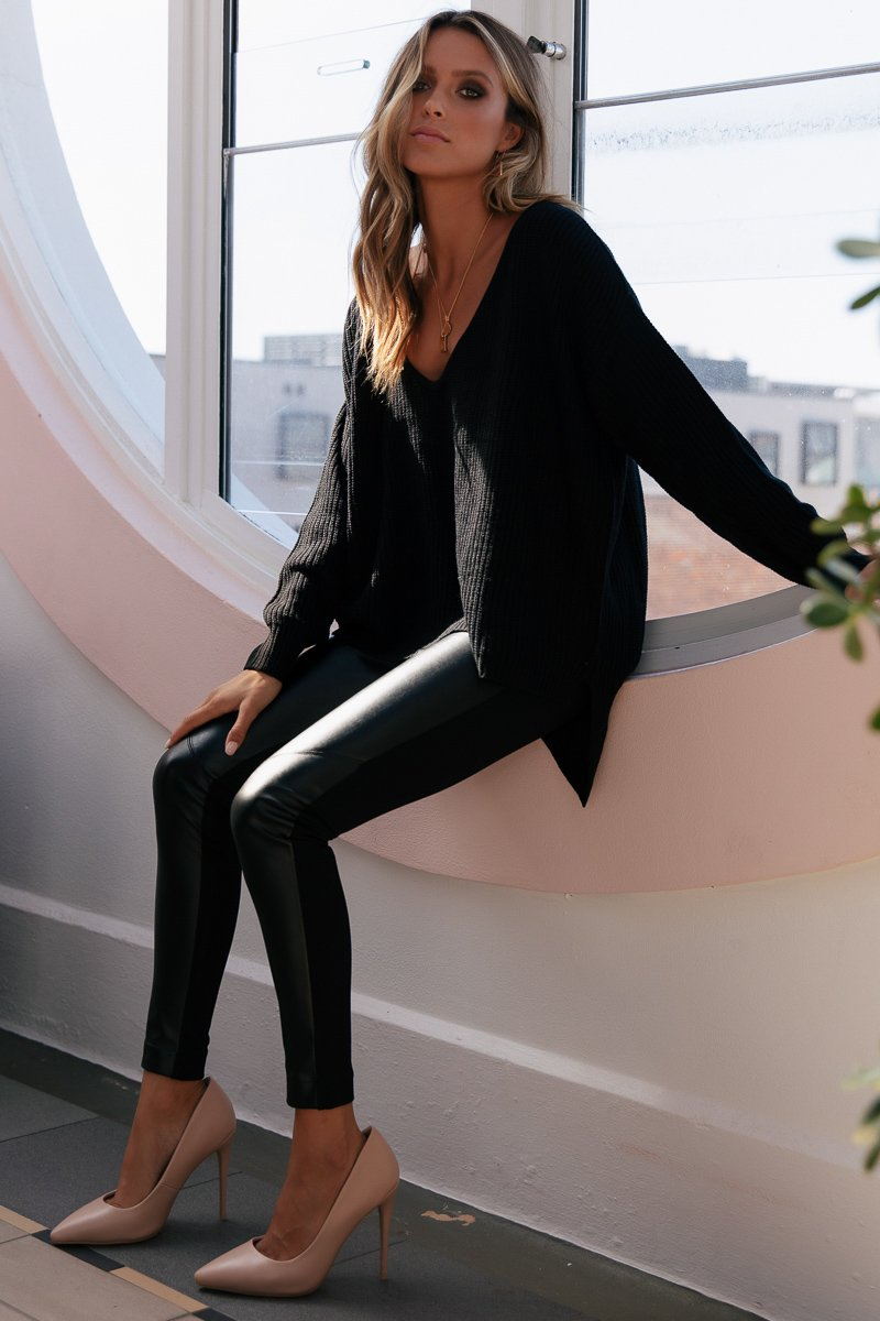 JAGGER LEGGINGS - FAUX LEATHER BLACK