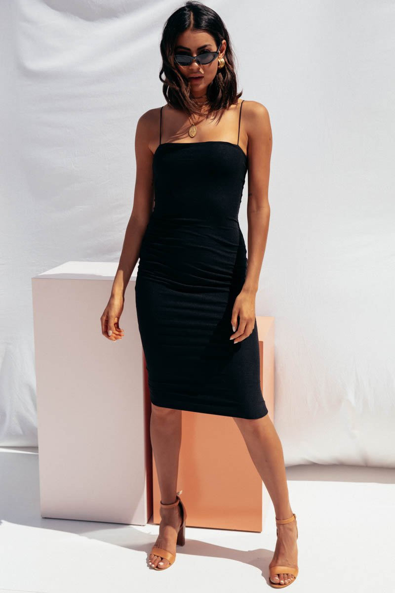 JOLIE MIDI DRESS - BLACK
